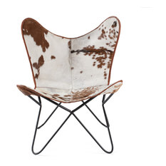 Madeleine Home London - Montreux Butterfly Chair With Leather Seat, Cowhide - Armchairs & Accent Chairs