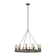 Feiss 12 Light Avenir Chandelier, Weathered Oak Wood/Antique Forged Iron