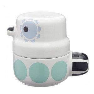 Owl Bird Pot, Turquoise Dots