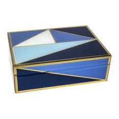 Sagebrook Home Wood/Glass Geometric Box, Blue