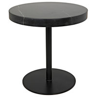 NOIR Furniture, Ford Stone Top Side Table, Black Metal, Tall, Low