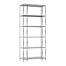 Zin Home - Art-Deco Brass and Iron 5 Shelf Bookcase - Bookcases