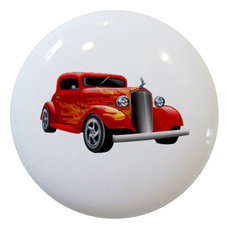 Red with Yellow Flames Hot Rod Car Ceramic Cabinet Drawer Knob