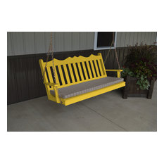 4' Pine Porch Swing in Royal English Style, Canary Yellow