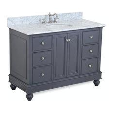 "Bella Bath Vanity, Base: Charcoal Gray, 48"", Top: Carrara Marble"