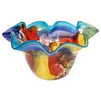 """Stormy Rainbow Murano Style Art Glass Floppy Centerpiece Bowl, 15"""""""