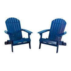 GDF Studio Milan Outdoor Folding Adirondack Chair, Set of 2, Navy Blue