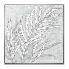 MOTINI Abstract 'Silver leaves' Oil Painting Framed Modern Wall Art  for Living