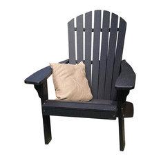 Poly Fanback Adirondack Chair, Black