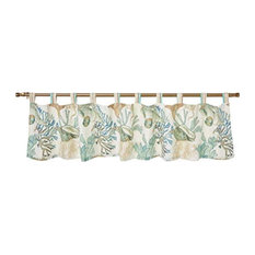 Polyester Valance With Coral Print, Jade Green And White