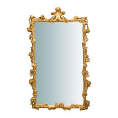 Italian Baroque Wooden Wall Mirror, Gold, 60x100 cm
