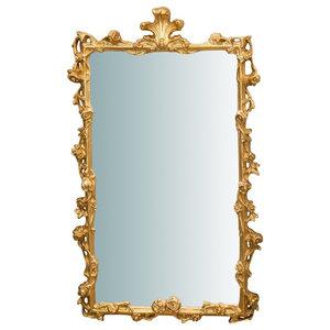 Italian Baroque Wooden Wall Mirror, Gold, 60x100 cm
