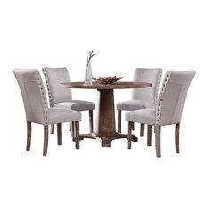 Carey Antique-Style Natural Oak Round Dining Set