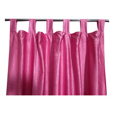 Mogul Interior - Pink Tab Top Sari Curtain / Drape / Panel- Pair Window Treatment - Curtains
