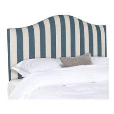 Safavieh Connie Navy And White Stripe Headboard Bed Queen