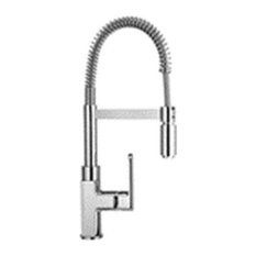 Piralla Ovo Kitchen Tap With Spring and Swivel Spout, Brushed Nickel
