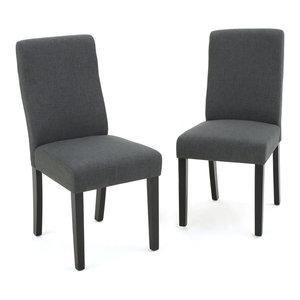 GDF Studio Arthur High Back Fabric Dining Chair, Dark Gray, Set of 2