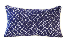 Traditional Indigo Batik Pillow, Lumbar Pillow, Rectangular Boho Pillow
