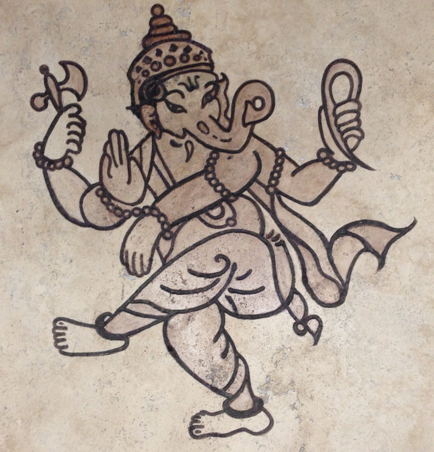 "Kitchen Backsplash Tile- ""Dancing Ganesh""-Custom tile"
