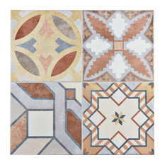 """SomerTile 13""""x13"""" Hidraulic Ceramic Floor and Wall Tiles, Set of 11"""