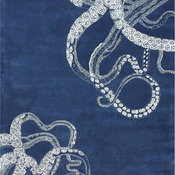 """Hand-Tufted Contemporary Octopus Tail Rug, Navy, 8'6""""x11'6"""""""