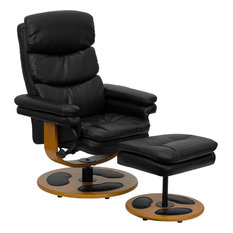 Contemporary Black Leather Living Room Recliner Chair And Ottoman With Wood Base