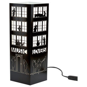 Music Lovers Paper Table Lamp, Black, Small