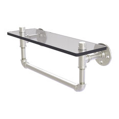 "Pipeline Collection 16"" Glass Shelf With Towel Bar, Satin Nickel"
