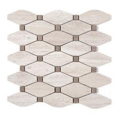 "11.75""x13.25"" Rhodes Stone Mosaic Tile Sheet, Wooden Gray"