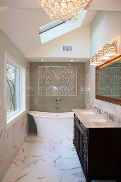 do something like that and take it around the top of your tiles that are only going so far up so it continues at the same height like a border - Bathroom Tiles Height
