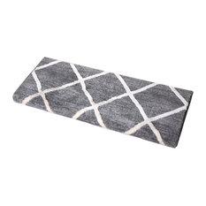 Bon D Dean Flooring Company, LLC.   Set Of 3 Theo Ivory Gray Bullnose Carpet