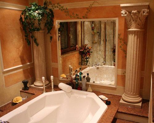 Mediterranes badezimmer creme mit s ulen - Mediterranes badezimmer ...
