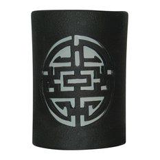 """8.5"""" Round Closed Top Ceramic Wall Sconce, Shoji Center Design, Black Suede"""