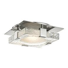 "Bourne 11"" LED Wall/Flush Mount, Polished Nickel Finish, Etched Glass"
