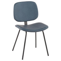 Industrial Nunzio Chair in Black Metal and Blue Faux Leather-Set of 2