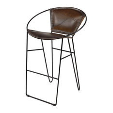 Tall Brown Leather Bar Stool With Geometric Black Iron Frame And Footrest