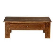 Pioneer Rustic Solid Mango Wood 42-inch Coffee Table W Hidden Drawer