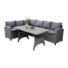 Modern Patio Set, Sectional Sofa and Table With Gray Gradient Wicker Frame