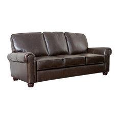 Abbyson Living - Bellagio Leather Sofa, Brown - Sofas