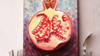 Картина маслом «Половина граната» 37х59 см.