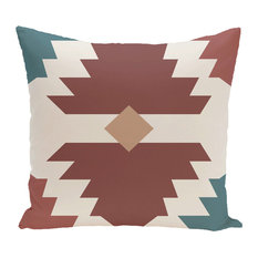 "Mesa Geometric Print Pillow, Orange, 16""x16"""