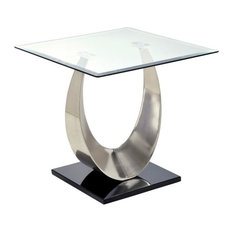 Furniture Of America Suse Square Glass Top End Table In Silver