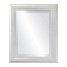 "Wright Framed Rectangle Mirror in Linen White, 25""x31"""