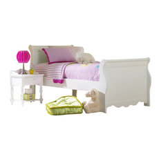 Hillsdale Furniture Lauren Sleigh Bed Set, Full with Rails, White