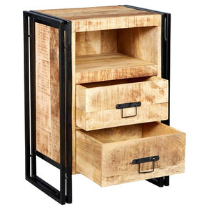 Cosmos Industrial 2-Drawer Side Table