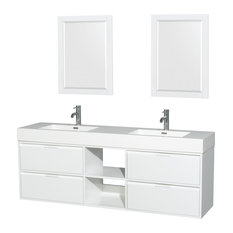 "Daniella 72"" DBL Vanity, Mirrors Acrylic-Resin Top Integrated Sink Glossy White"