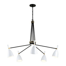 Utopia by Martyn Lawrence Bullard 5-Arm LED Chandelier, Brass, White Metal