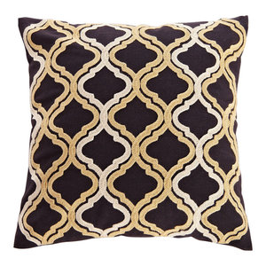Gold Embroidered Quatrefoil Throw Pillow, Black, 18