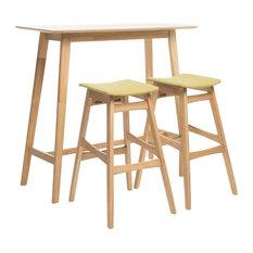 GDFStudio - Ethel Natural Oak Finish Rectangular 3 Piece Bar Set, Green Tea - Indoor Pub and Bistro Sets