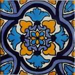"Fine Crafts & Imports - 4.2""x4.2"" Movas Talavera Mexican Tiles, Set of 9 - This tile is predominantly turquoise color. It also features denim and cobalt blues. Suitable for a back-splash or a shower or any other indoor or outdoor project. If your project includes decorative colorful Mexican tile, you might want to consider this one as a good candidate. Suitable for whole area installations or just as an accent over a field tile. The second picture shows a patch of this tile put together. This is a general idea, if looks busy, you might want to combine with a field tile."